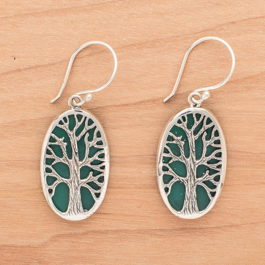 Cut Out Sterling Trees on Green Resin