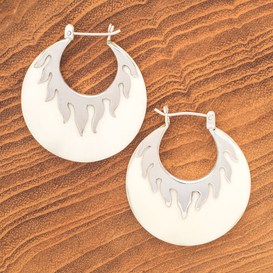Bone Resin Half Moon Earrings With Silver Rays