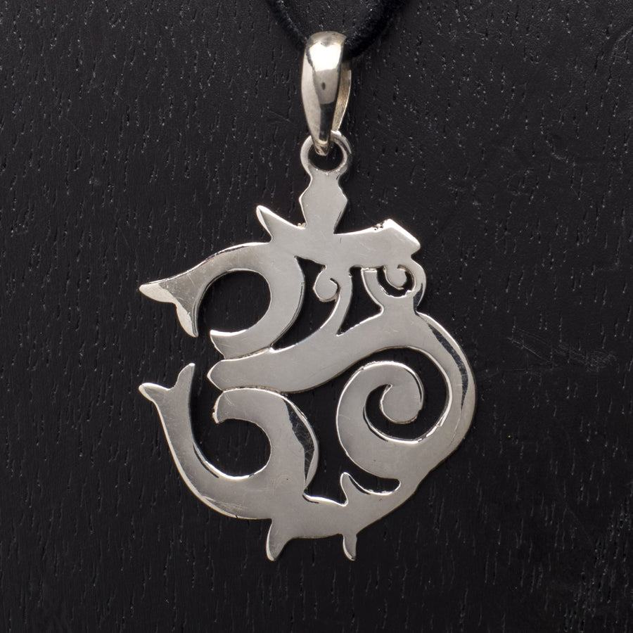 Polished Silver Om Pendant