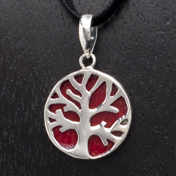 Sterling Tree Pendant on Red Resin