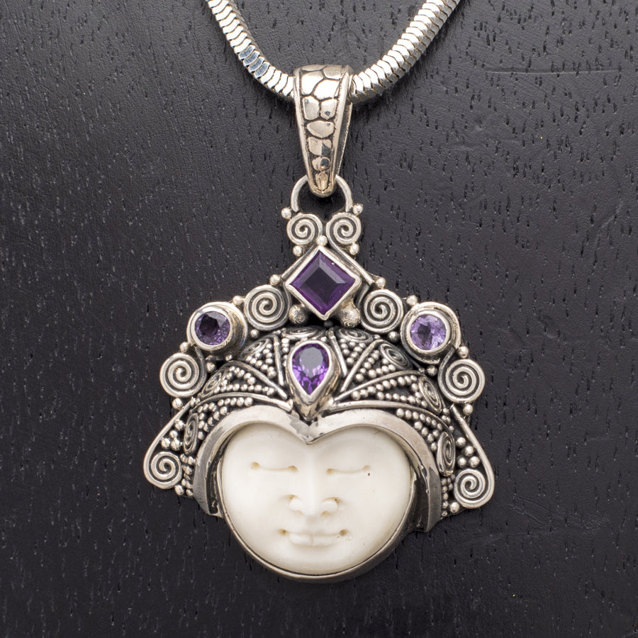 Carved Bone Face and Sterling Crown with Amethysts