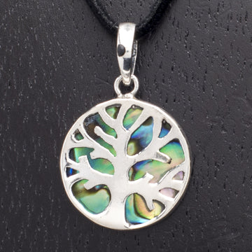 Sterling Tree Pendant on Abalone