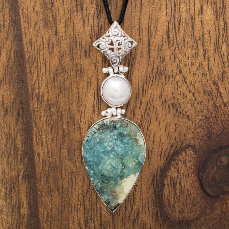 Cultured Pearl and Teal Druzy Pendant