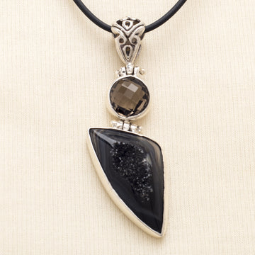 Smokey Quartz and Druzy Pendant