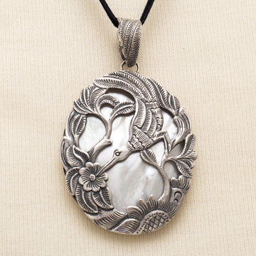 Silver Bird Pendant Backed with Mother-of-Pearl