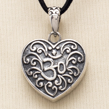 Sterling Heart and Om Pendant