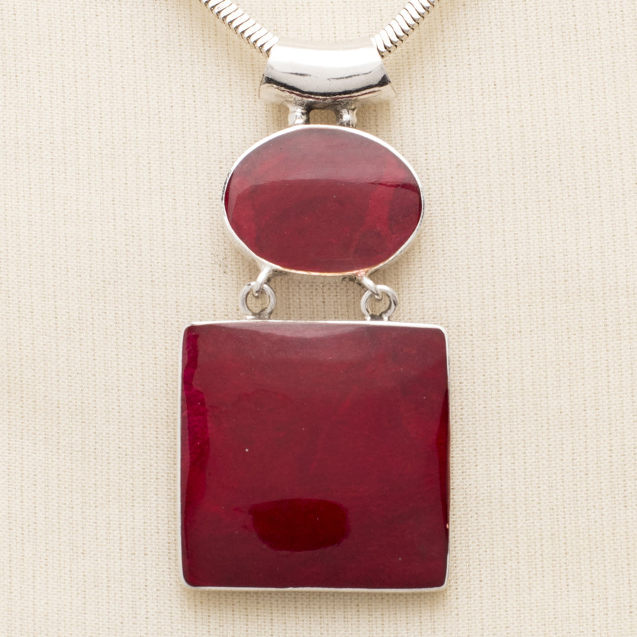 Dangling Red Oval and Square Resin Pendant