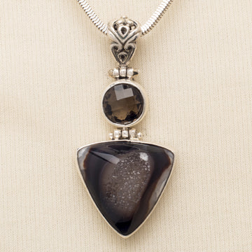 Triangular Druzy and Smokey Quartz Pendant