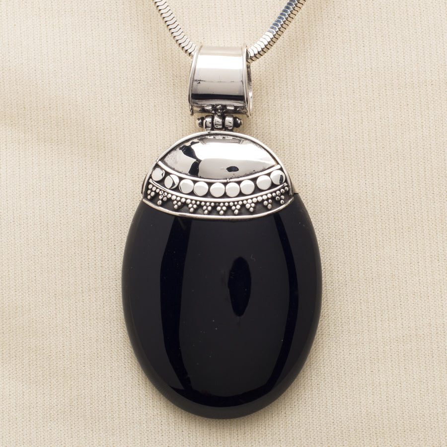 Obsidian Pendant with Sterling Bail