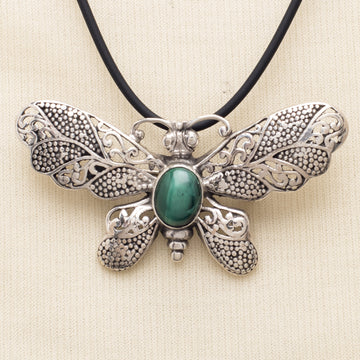 Sterling Butterfly Pin/Pendant with Malachite