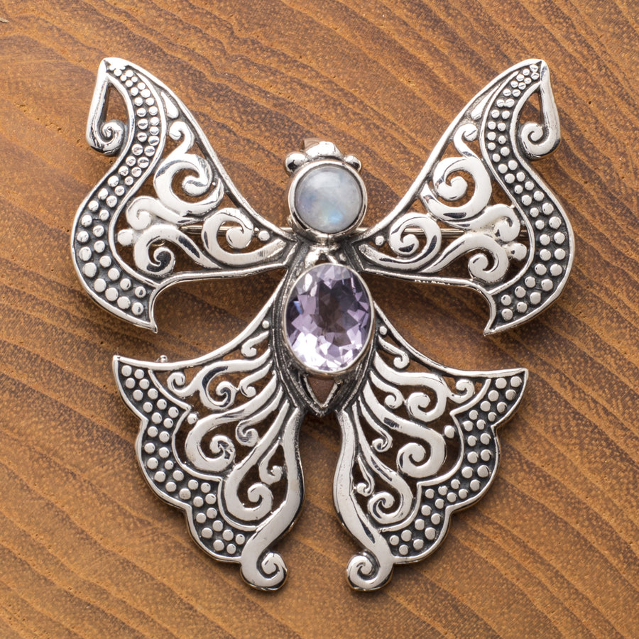 Sterling Butterfly Pin/Pendant with Amethyst and Opal