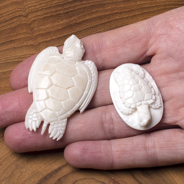 Bone Carving - Turtles Swimming