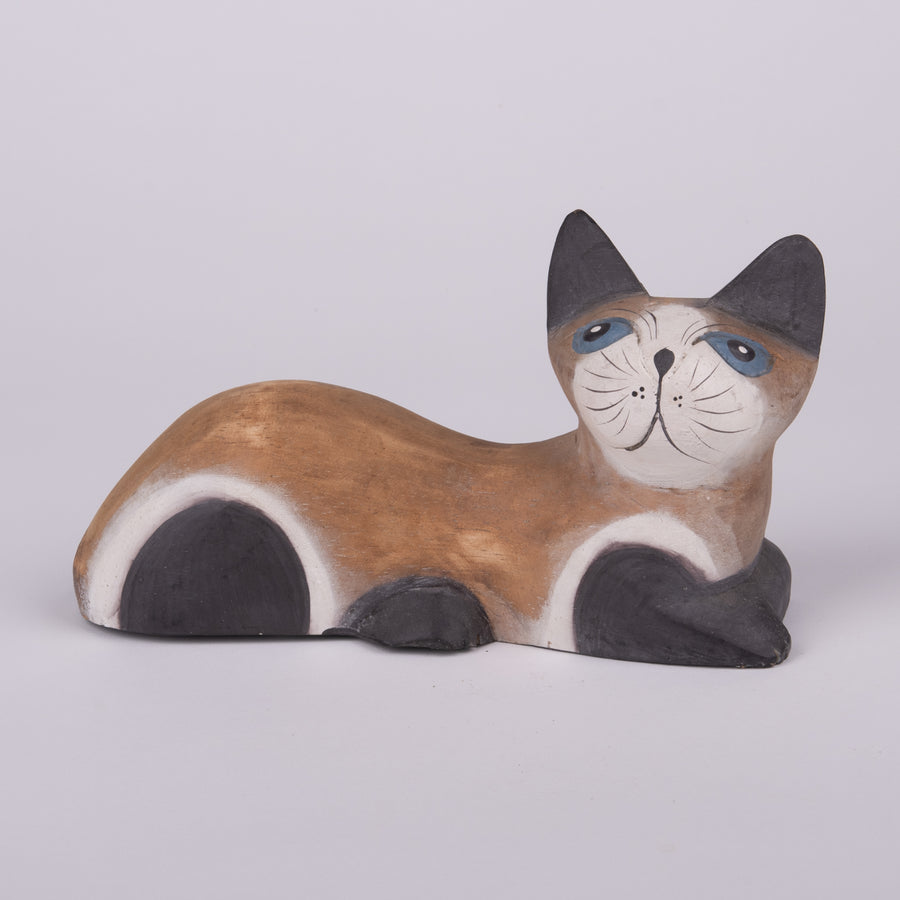 Painted Wooden Chillin' Cat