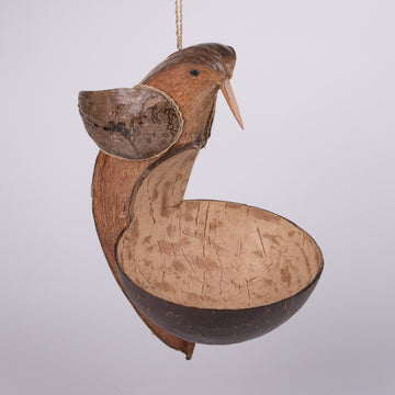 Coconut Bowl Bird Feeder with Bird at the Ready