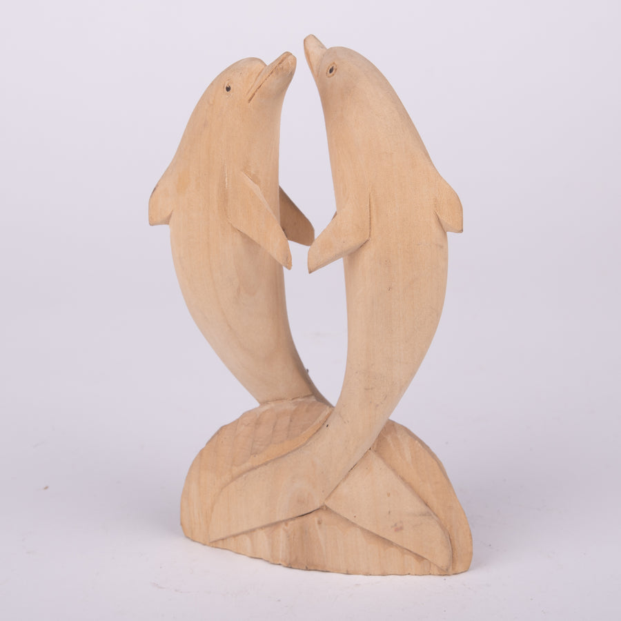 Dolphins Dancing Wood Carving
