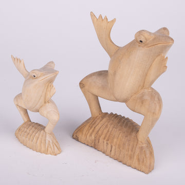 Whimsical Carved Balinese Dancing Frog