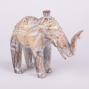 Abstract Elephant Carving with Golden Touches
