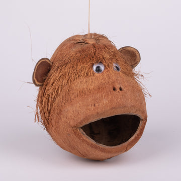 Coconut Monkey Head Birdhouse
