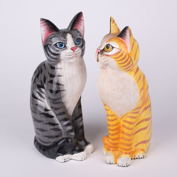 Striking Painted Pussy Cat Sculpture