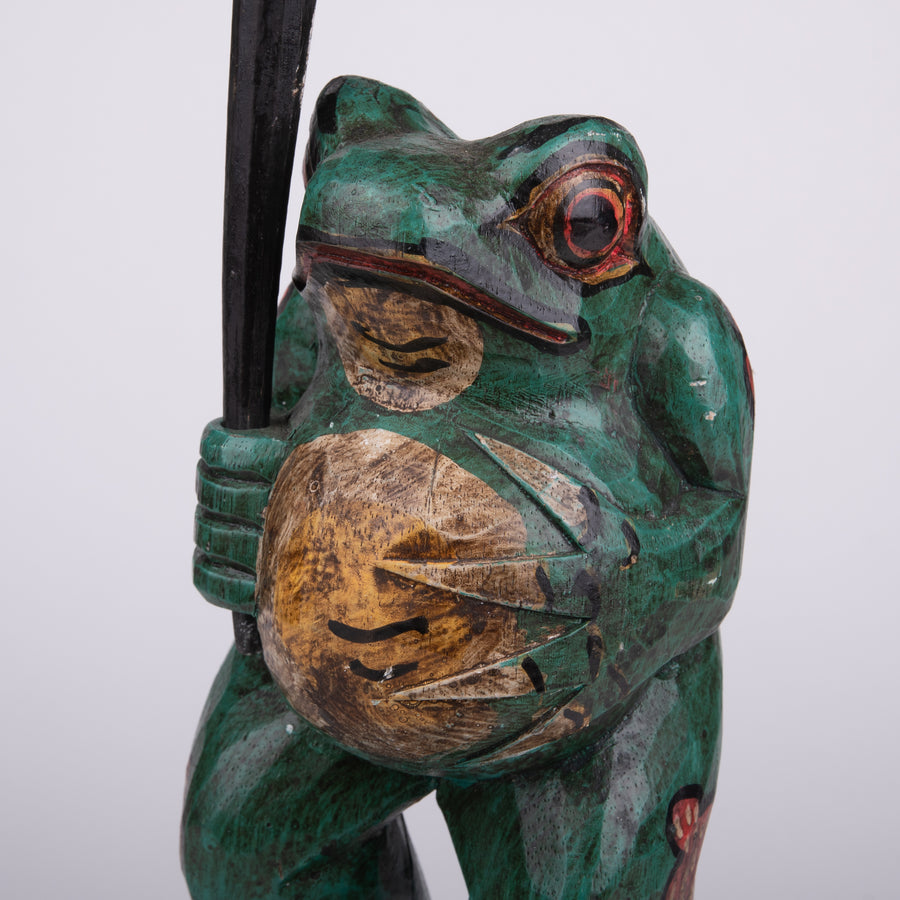 Charming Frog Carving Holding Umbrella