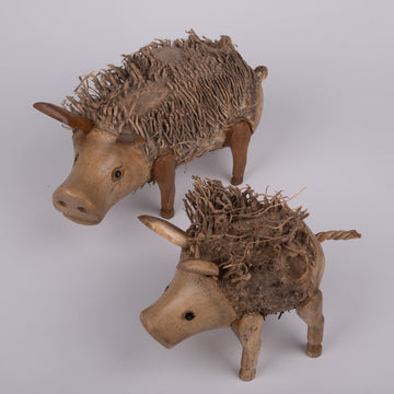 Whimsical Pigs Carvings with Root Fur