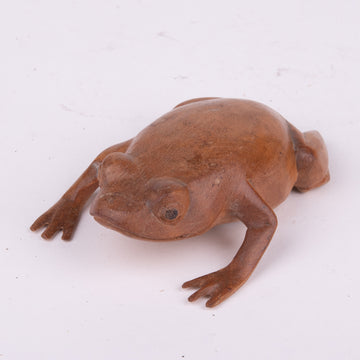 Sleek Wooden Carved Frog