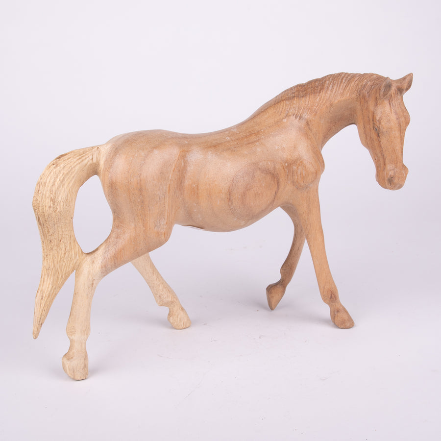 Wooden Horse Walking Statue