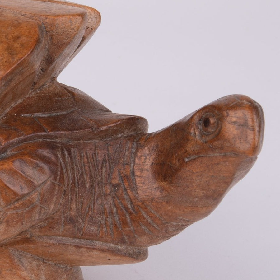 Carved Turtle Hatching from Wooden Egg