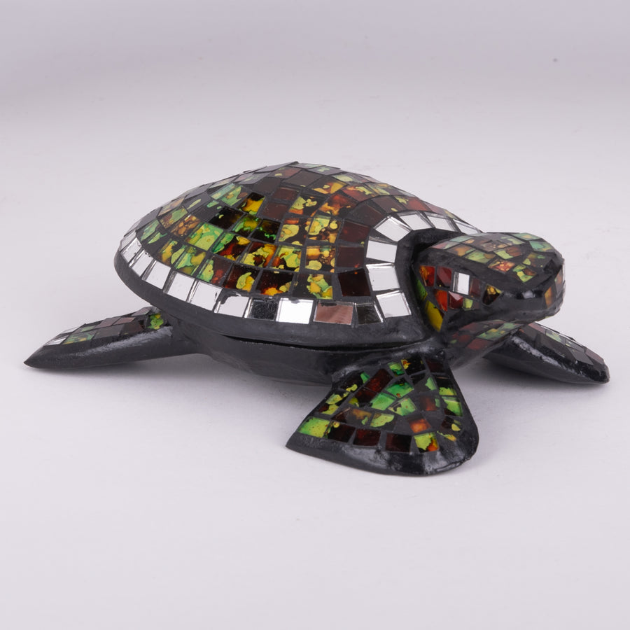 Mosaic Green Turtle Carving & Bowl