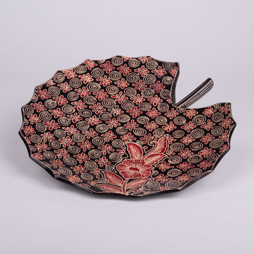 Lotus Leaf Shaped Batik Wooden Plate