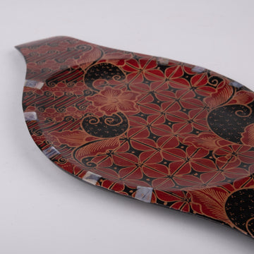 Batik Wooden Serving Plate with Shell Inlay