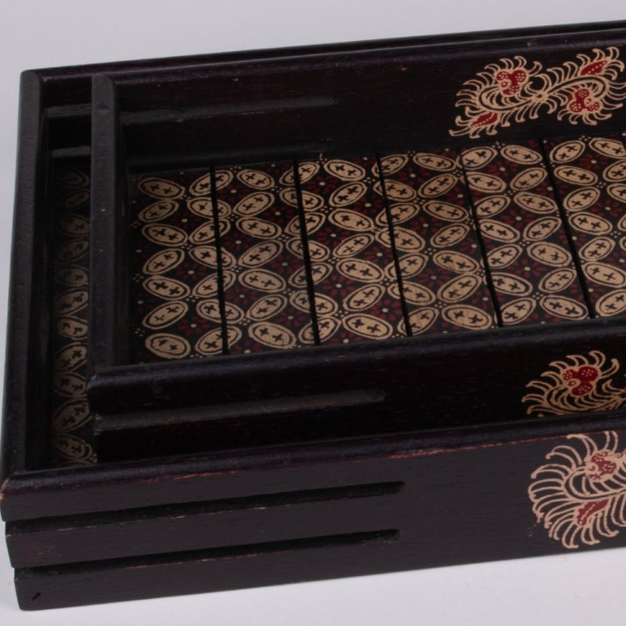 Batik Wooden Serving Trays Nesting
