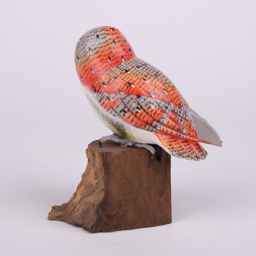 Hand Carved Owls - Small Barn Owl on Log
