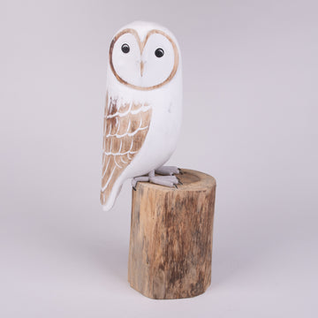 Hand Carved Owls - Modern Snowy Owl on Post