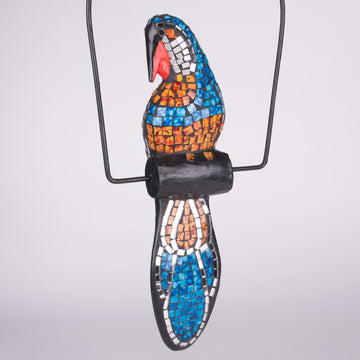 Mosaic Parrot Sculpture Swinging on a Swing