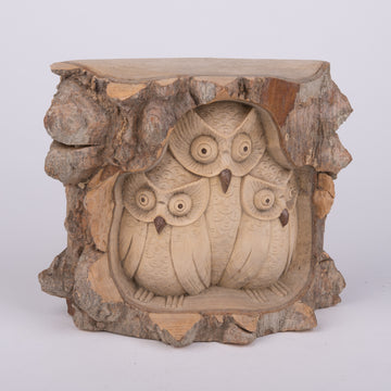 Carved Owl Family in Crocodile Wood