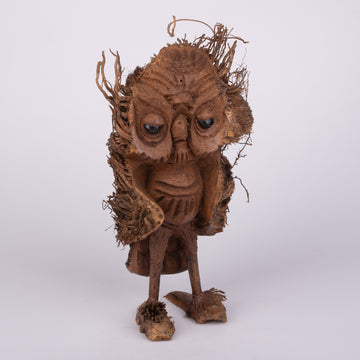 Carved Wise & Furry Owl from Bamboo Root