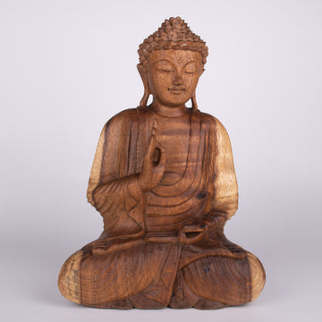 Peaceful Wooden Buddha with One Hand Up