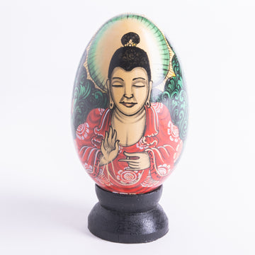 Exquisite Hand Painted Wooden Eggs Featuring Buddha