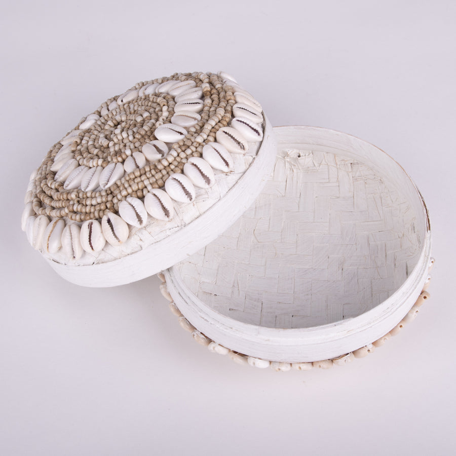 Round Cowrie Shell & Beaded Basket