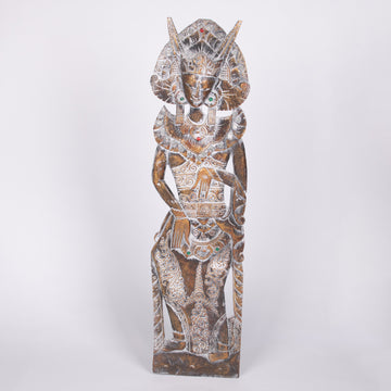 Bali Goddess Wooden Relief Wall Carving