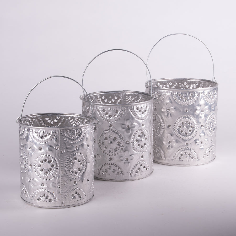 Pressed Tin Luminary Set of 3