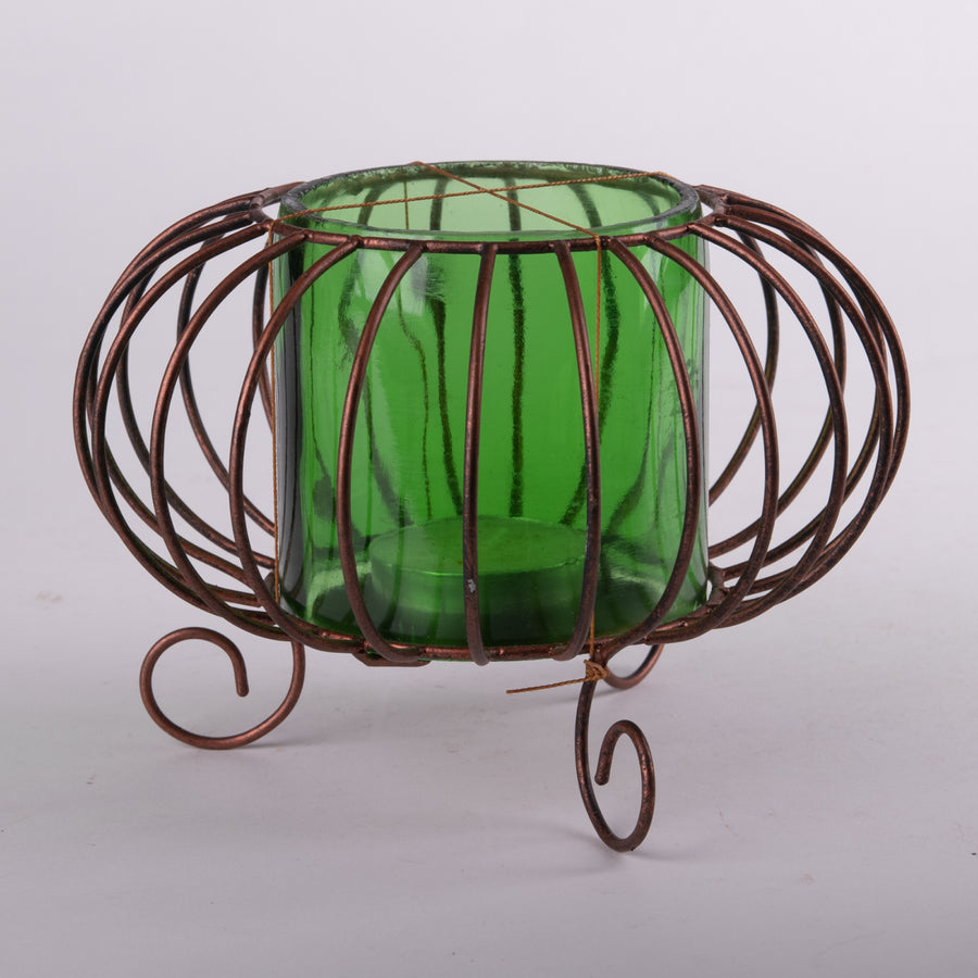 Green Glass & Brass Wire Modern Votive