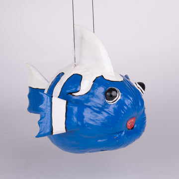 Silly Blue & White Hanging Coconut Fish