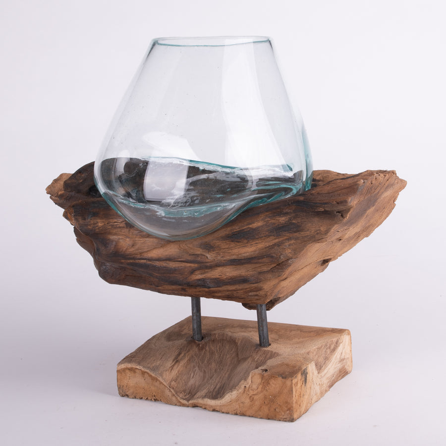 Melted Glass Bowl & Driftwood Stand Sculpture