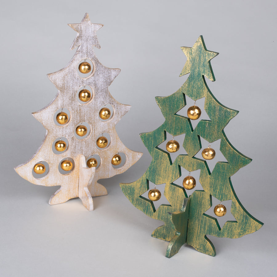 Wooden Christmas Trees with Built in Balls