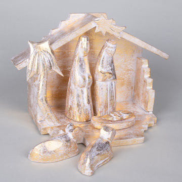 Modern Hand Carved Nativity Creche - Golden