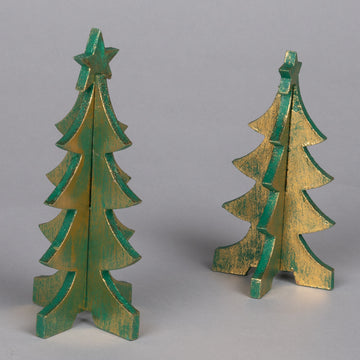 Set of Small Wooden Christmas Trees