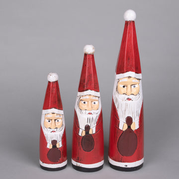 Hand Carved Wooden Santa Cone