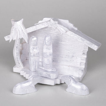 Modern Hand Carved Nativity Creche - Silver